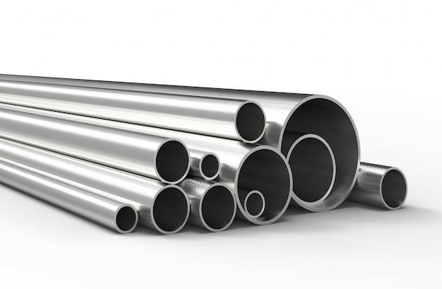 Серебряные трубы изолированы. 3d-рендеринг.