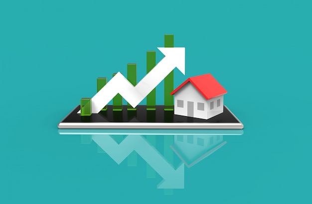 成長の不動産コンセプト。ビジネスグラフと携帯電話の家。 3dイラストレーション。