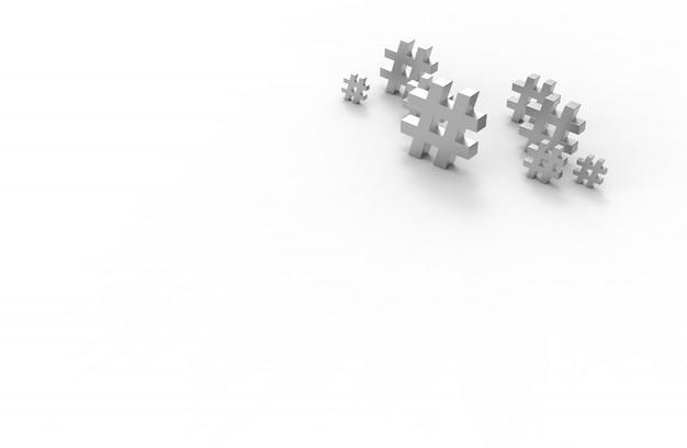 白い背景に分離された銀のハッシュタグアイコンのグループ。 3dイラストレーション。