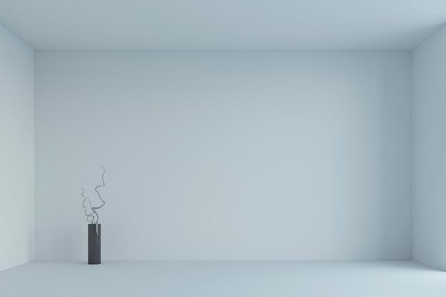空の白いシンプルな部屋と枝と花瓶。 3dレンダリング