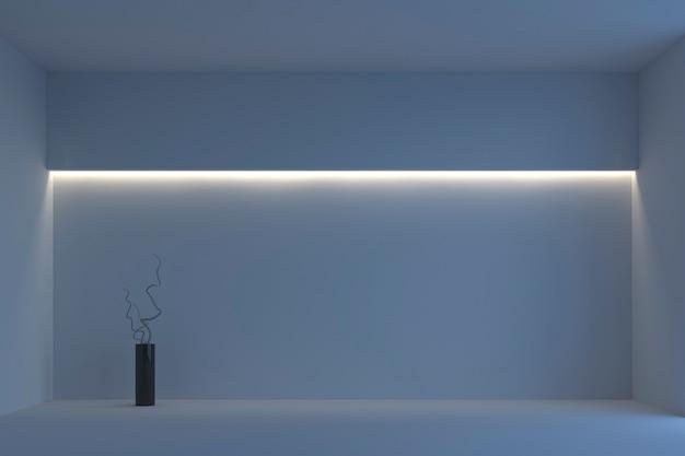 白いバックライト付きの空の白いシンプルな部屋。 3dレンダリング