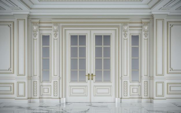 金メッキを施したクラシカルなスタイルの白い壁パネル。 3dレンダリング