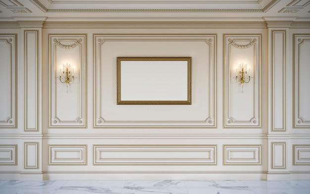 金メッキを施したクラシカルなスタイルのベージュの壁パネル。 3dレンダリング