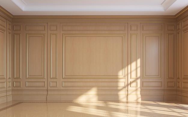 木製パネルを配したクラシックなインテリア。 3dレンダリング