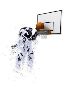 バスケットボールをする3dロボット