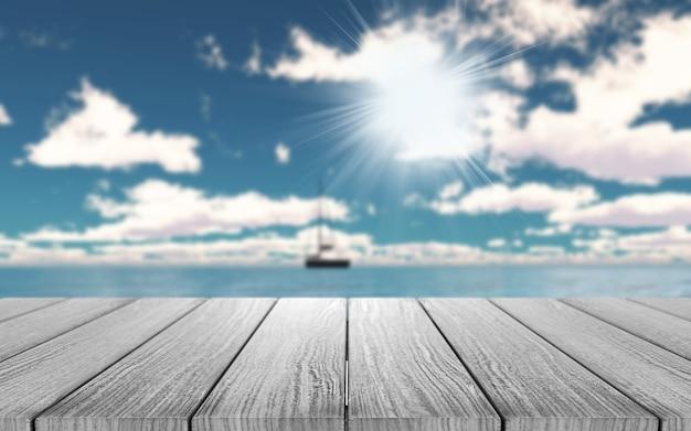 3d деревянный стол с видом на яхту на берегу океана