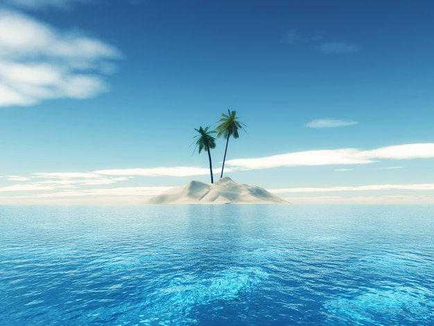 3d熱帯ヤシの木の島