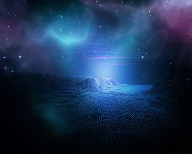 3d абстрактный космический фон с каркасным ландшафтом