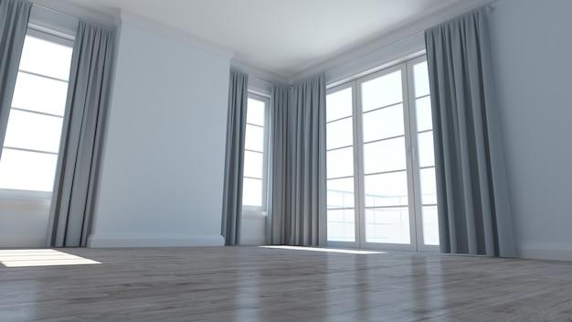 空の部屋のインテリアの3dレンダリング