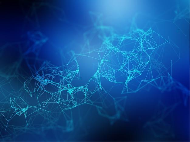 接続線とドットを含む3d低ポリ背景