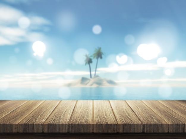 Деревянный стол 3d на расфокусированном острове тропической пальмы