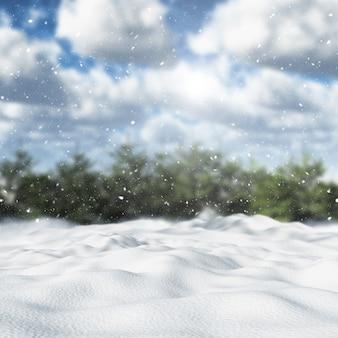3d雪に覆われた冬の風景