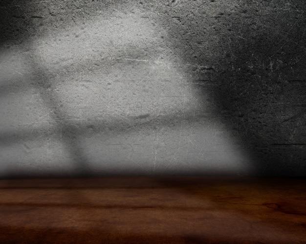 3d интерьер комнаты с гранж стеной и полом и фоном световых лучей