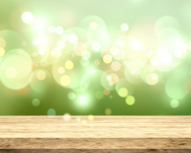 3d деревянный стол на боке светится зеленым