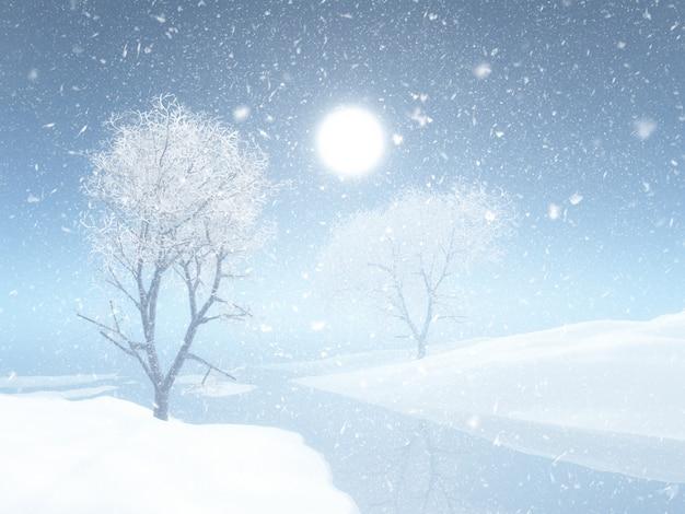 3d рождественский зимний пейзаж