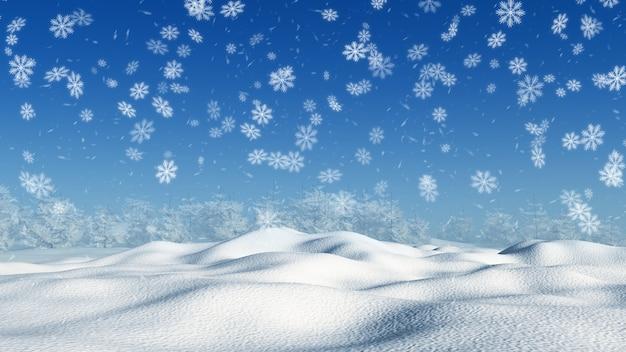 3d снежный пейзаж