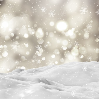 3d снежный зимний пейзаж с боке огни и падающие снежинки