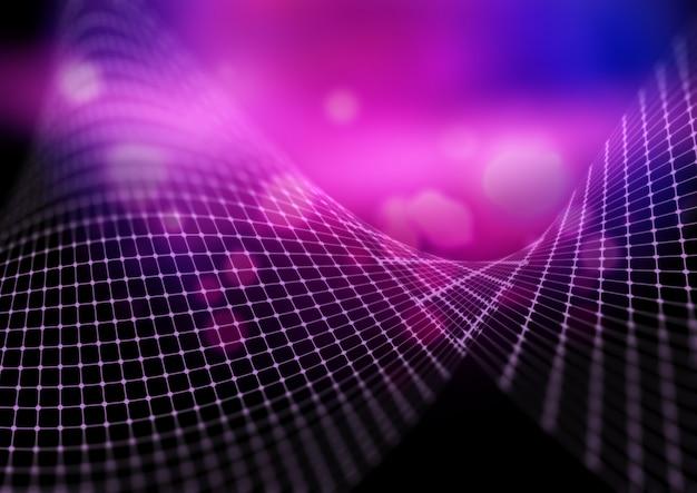 3d цифровой пейзаж с фоном плавных точек