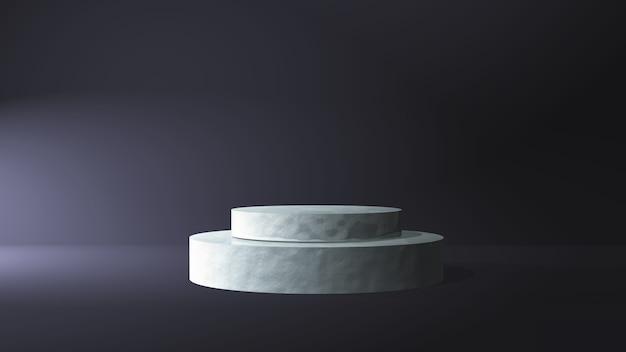 暗い部屋のインテリアの3d大理石の表彰台