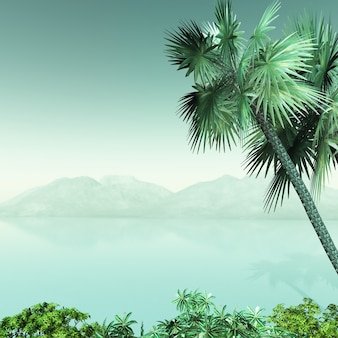 3d пальмовый пейзаж