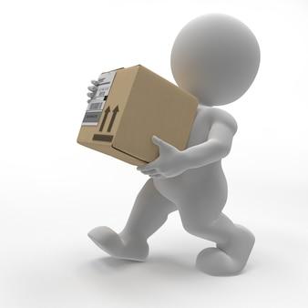 ボックスを運ぶ3dモーフマン
