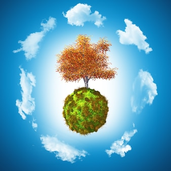 3d ореховое дерево на травянистом глобусе