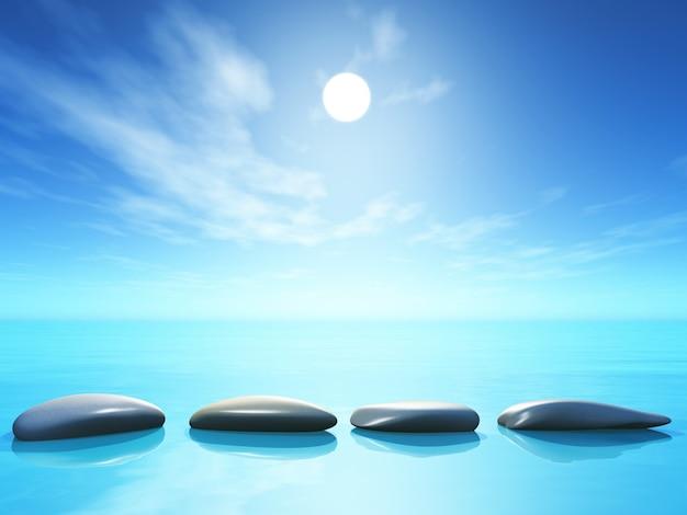 海の風景の中の3d飛び石