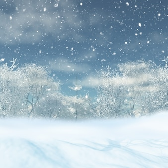 雪景色のレンダリング3d