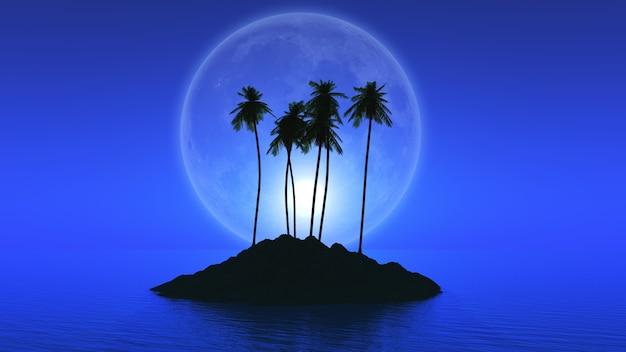 3d визуализации острова пальмы с вымышленной планеты позади