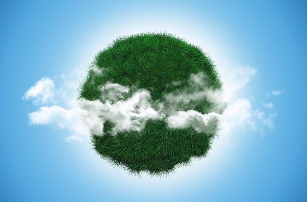 雲と芝生の地球のレンダリング3d