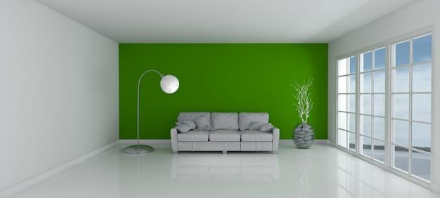 3d визуализации пустой комнате и диваном