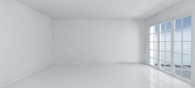 3d визуализации пустой комнате с окнами