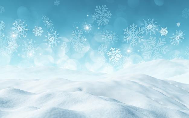 雪とクリスマスの背景のレンダリング3d