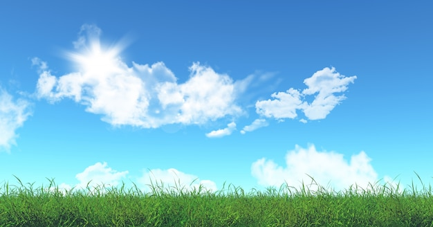 3d визуализации зеленой траве и голубое небо