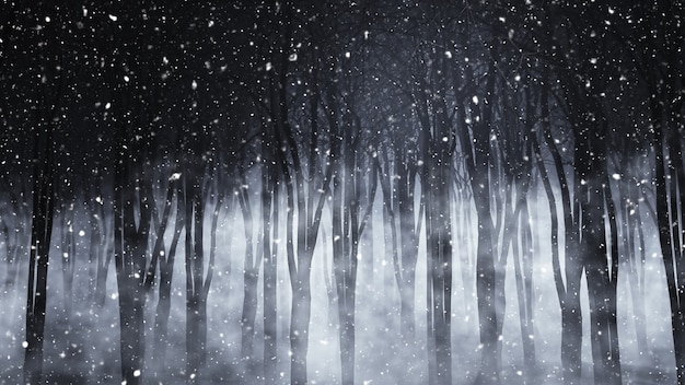 雪の夜に不気味な霧の森のレンダリング3d