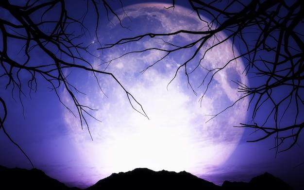 3d визуализации ландшафта хэллоуин с луной