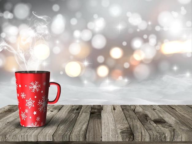 雪のボケライトを背景に蒸しクリスマスマグのレンダリング3d