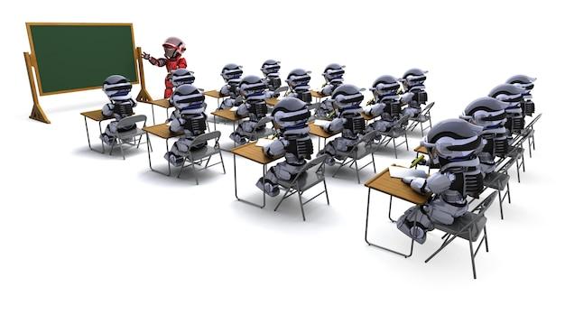 教室でロボット先生のレンダリング3d