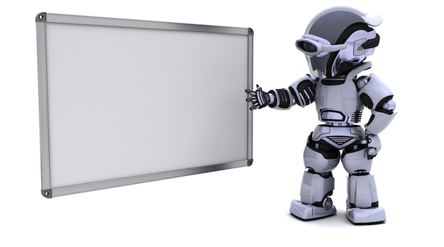 3d визуализации робота с пустой белой доски
