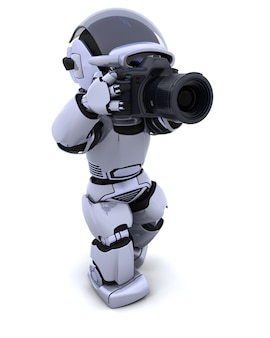 デジタル一眼レフカメラとロボットのレンダリング3d