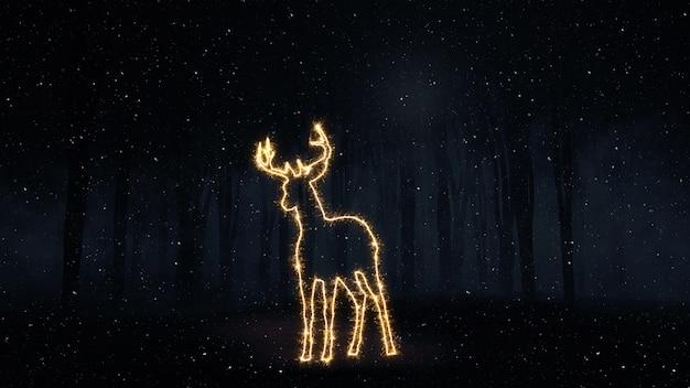 キラキラ鹿のアウトラインとクリスマスの背景のレンダリング3d
