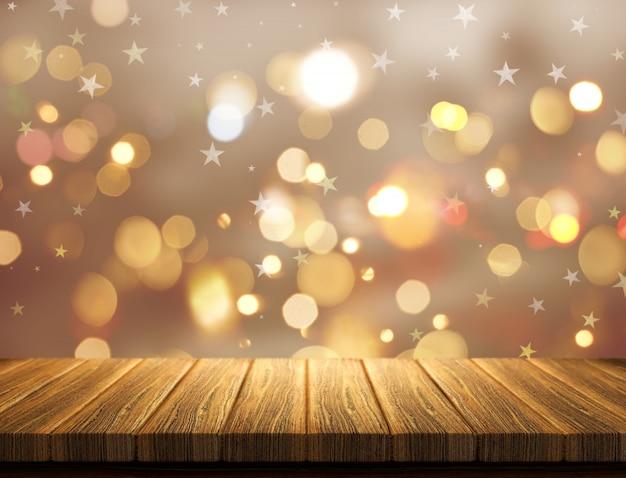 ボケライトの背景にクリスマスマグのレンダリング3d
