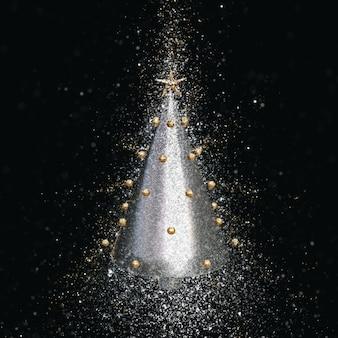 3d визуализации серебряной елки с эффектом разорвавшейся блестки