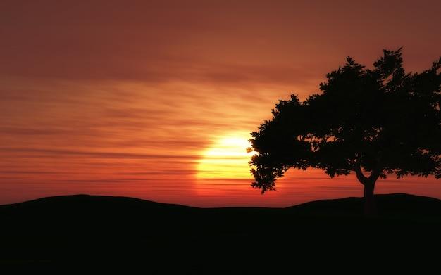 カエデの木のシルエットと日没の風景のレンダリング3d