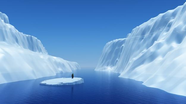 3d визуализации пингвина на плавающем айсберга