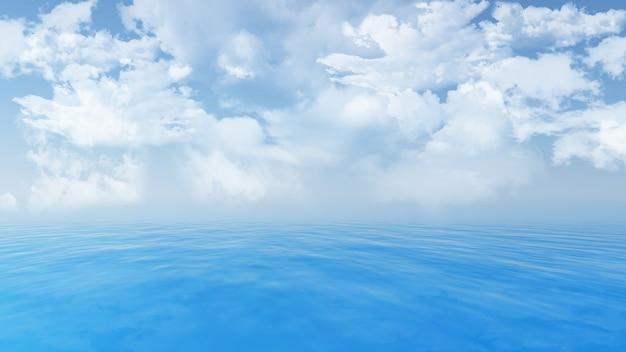 青い海と空にふわふわ白い雲のレンダリング3d