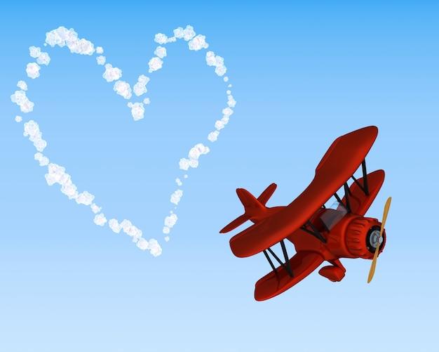 3d визуализации бипланной неба писать сердце