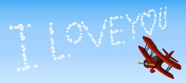 3d визуализации письма биплан неба я тебя люблю