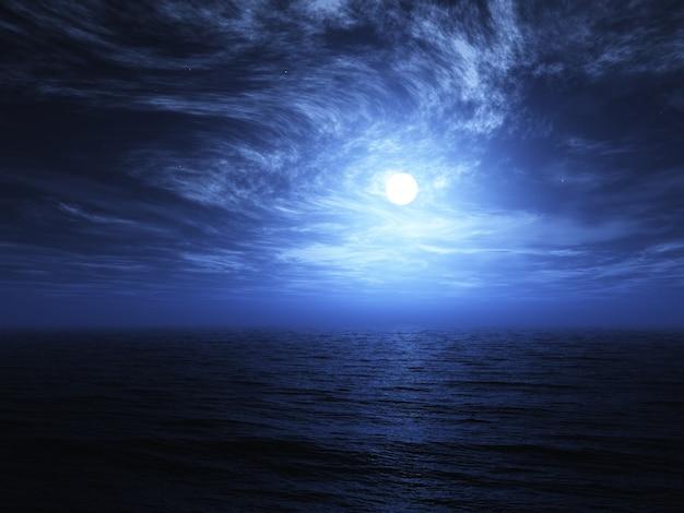 3d визуализации луны над морем с циркулирующими облаками