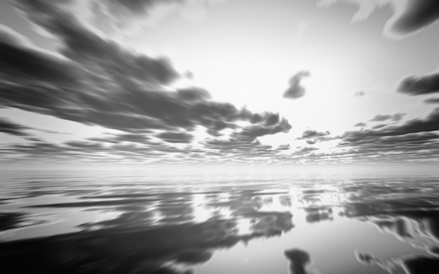 海の上に抽象的な黒と白の夕日のレンダリング3d